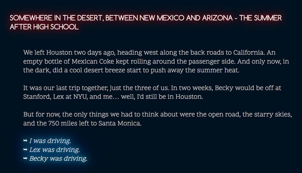 Cactus Blue Motel: driving